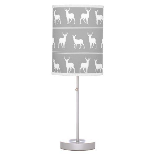 White Deer and Stag pattern on Grey Table Lamp