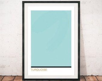 Turquoise print, Turquoise kleur kunst, kleur blok art, minimalistische kunst afdrukken, minimalisme, Modern muur kunst, modernisme, hedendaagse afdrukken