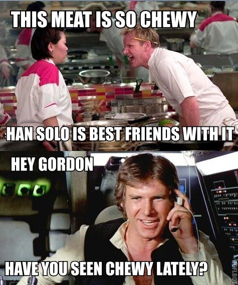 Han Solo May The Fourth Be With You: Ein Steak, Chewie, Han Solo. Http://www.jedipedia.net/wiki