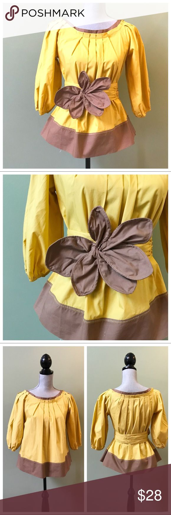 Ryu Yellow Brown Bow Top Yellow and brown top with a belt that has 2 options for sizing. Elasticized sleeve ends, great condition, size small. Ryu Tops Blouses