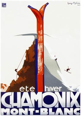 1933 PLM Railway poster for skiing and mountaineering on Mont Blanc in the French Alps