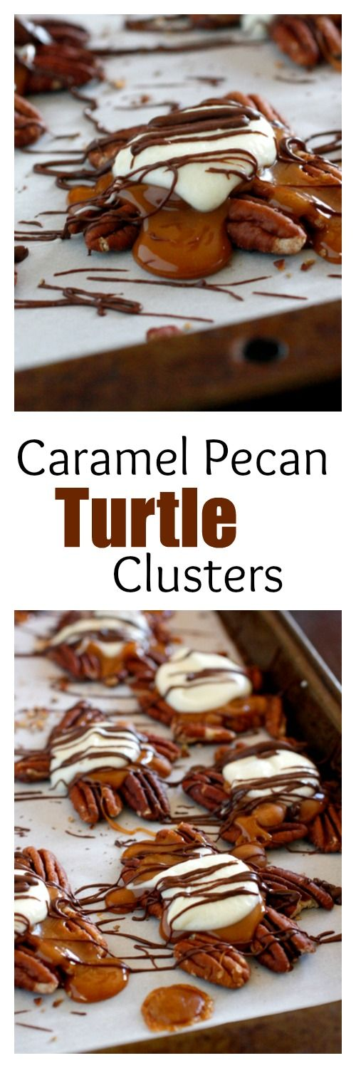 Caramel Pecan Turtle Clusters - these cute little candies are so easy to make, and make great gifts for Christmas!