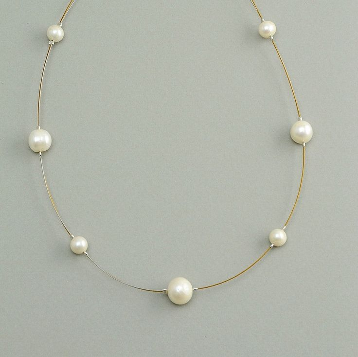 Double iron necklace with white fresh water pearls and silver clasp by NataliaNorenasilver on Etsy