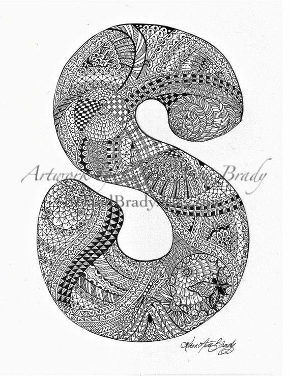 S zentangle doodle initial monogram authorized art print by Karen Anne Brady $5