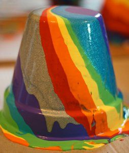 Drip Painted Rainbow Pots use the drip painting technique, which kids will love because it is simple and produces a rainbow effect. Make these painting projects for kids like these painted ceramic pots for unique gifts and garden crafts.