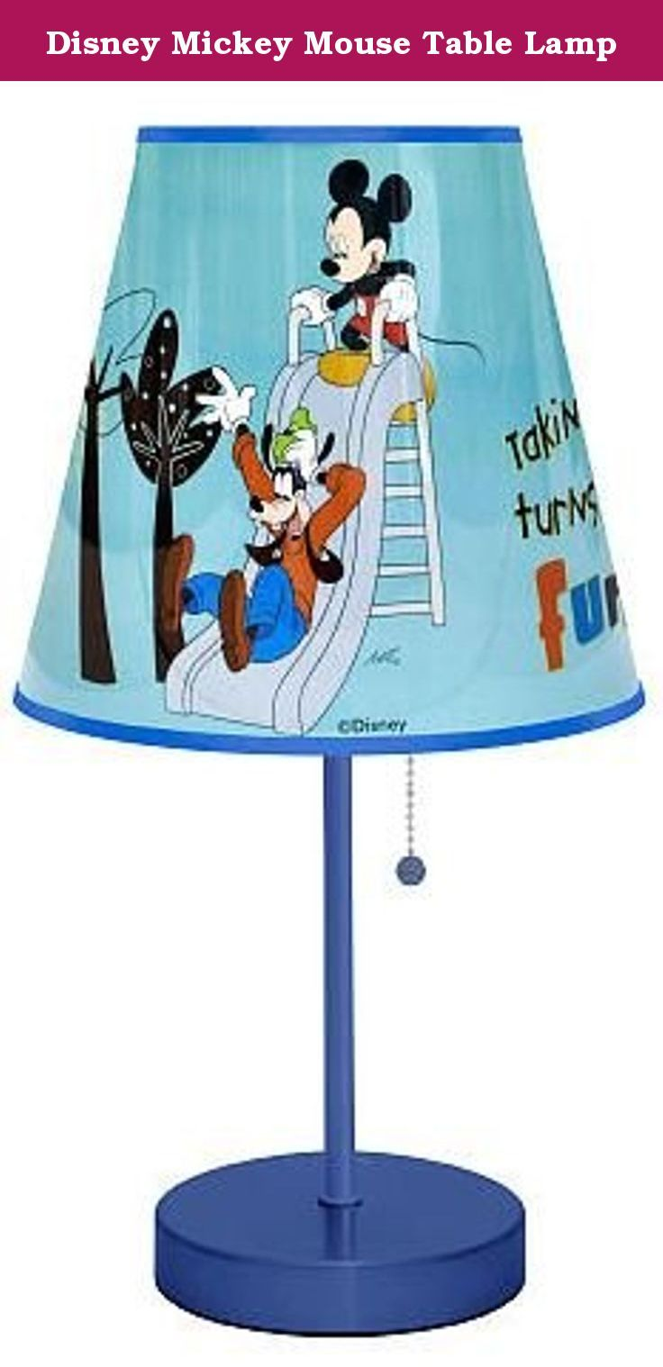 Disney Mickey Mouse Table Lamp. Brighten up your child's playroom or bedroom with this unique Disney Mickey Mouse Table Lamp. It requires no assembly and is ready to use. The round, plastic shade and pull chain features a unique Mickey Mouse design. This Disney character lamp is powered by a 40 watt bulb that is not included. The bulb should not exceed 40 watts. 8 inch diameter, 20 inches tall.