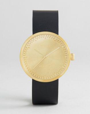 Золотисто-черные часы с кожаным ремешком Leff Amsterdam D-Series 38 мм
