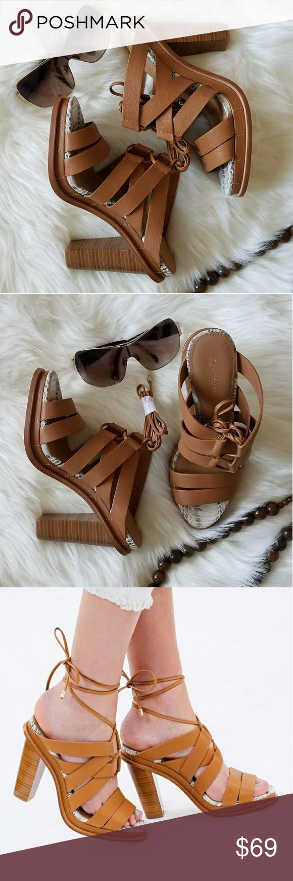 Calvin Klein strappy heel sandal New in box.   Calvin Klein leather strappy, lace up heel sandal.  Super cute and stylish.   Smoke free and pet free home. Calvin Klein Shoes Sandals