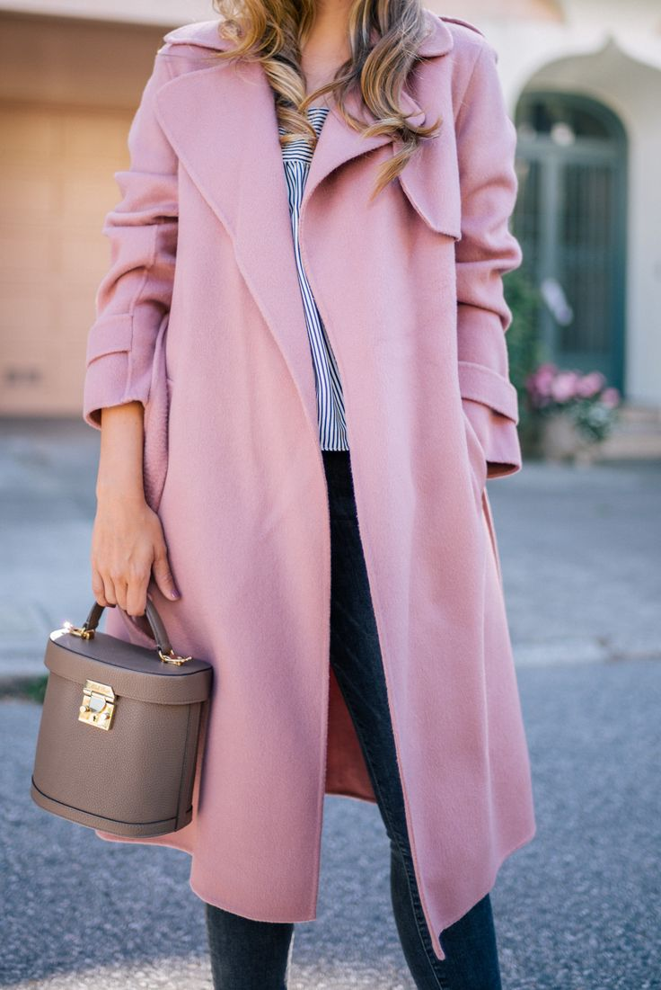 Gal Meets Glam Dusty Rose Coat - Theory coat, Jenni Kayne top, Frame denim, Mark Cross bag & Ray Ban sunglasses