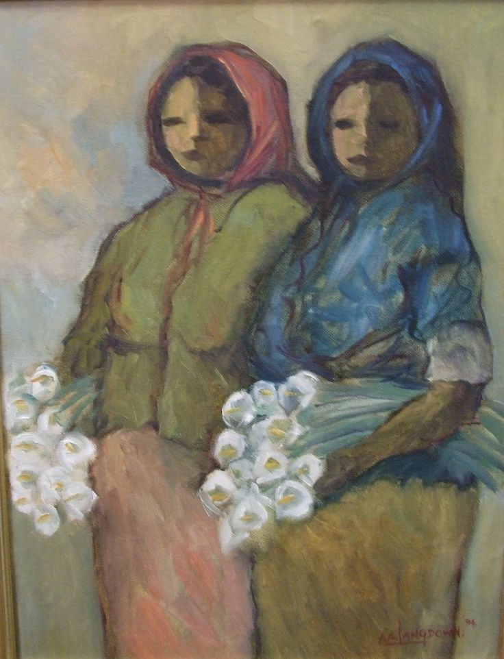 AVAILABLE ~ Amos Langdown 06 - Woman With Flowers - SOUTH AFRICAN OLD MASTERS - House Of Ar & Framing - Garsfontein, Pretoria