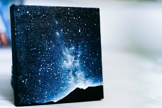 A small painting for someone with a big love of the night sky. This is an original painting on a 4x4 canvas. Painted in acrylic and sealed with