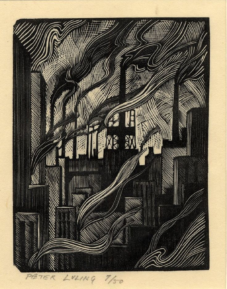 Pieter Luring | Semi-abstract composition with smoking chimneys. 1925  Wood-engraving, on oriental paper