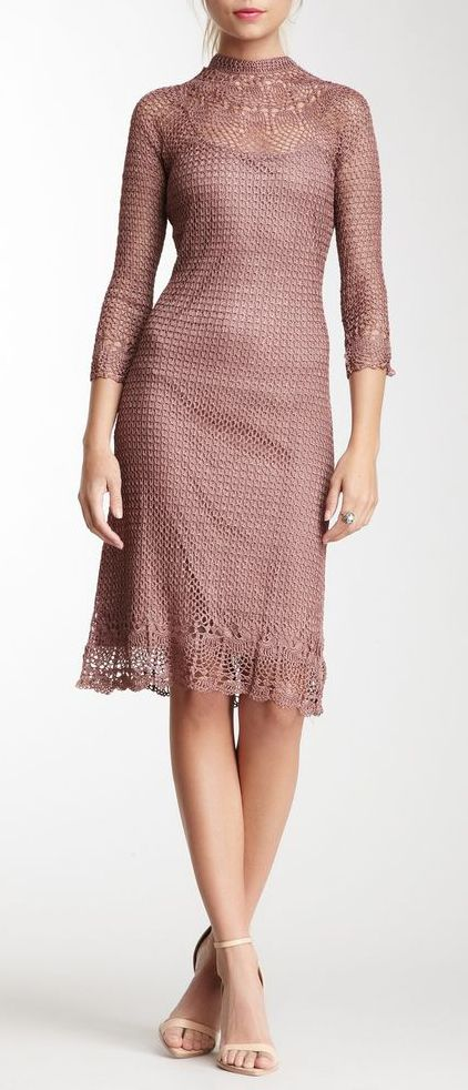 Papillon High Neck Crochet Dress