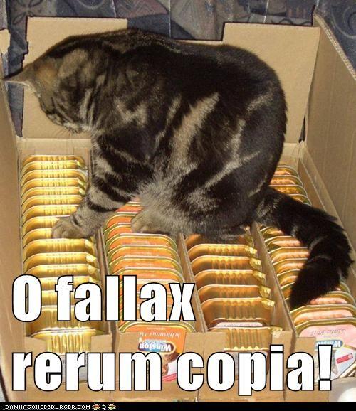 O fallax rerum copia!    O the deceitful abundance of things!