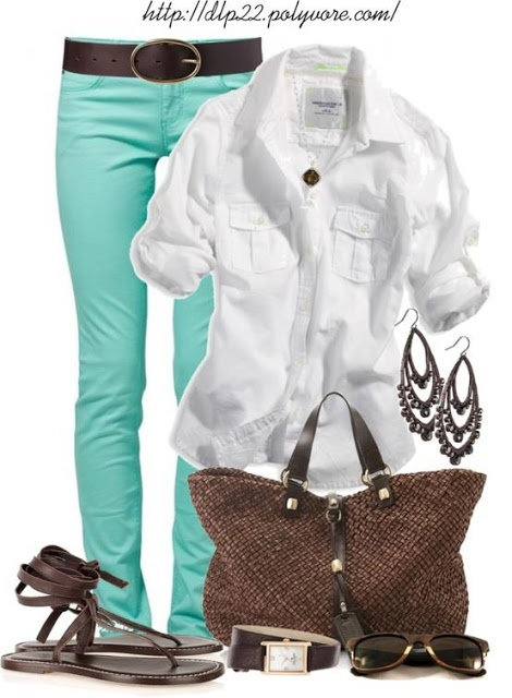 turquoise skinnies, crisp white, and brown accents... great spring look