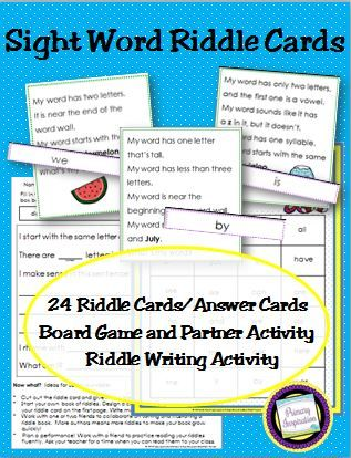 Practice early sight words with riddles! 24 riddle cards with clues about word length, position on the word wall, rhyming, initial sound, and making sense in context. $  https://www.teacherspayteachers.com/Product/Kindergarten-Sight-Word-Riddles-Oh-My-Word-2046395