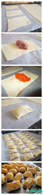 Masa de hojaldre. Sobrasada, queso, salchichas, tortilla…Huevo.Especias. Lo ideal es preparar la masa en casa, pero yo utilizo la que venden congelada.Estiramos con el rodillo y cortamos en rectángulos. Rellenamos de paté de salmón, sobrasada con miel, choricitos, queso de cabra… cerramos de un lado y de otro, con el tenedor lo podemos sellar un poco. Bandeja del horno con papel de hornear y pintamos con huevo batido. Pimienta, orégano, ajonjolí… y al horno precalentado a 170º 15 o 20…