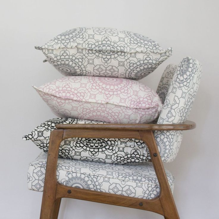 Elle Kay Fabrics Mosaic Cushion Covers available in three colours, Graphite, Black and Rose Quartz