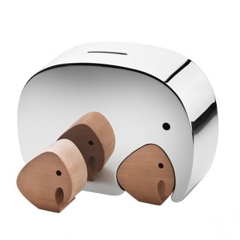 Elephants coin bank. The baby elephant, made of oak fits like a puzzle piece into the stainless steel mama.