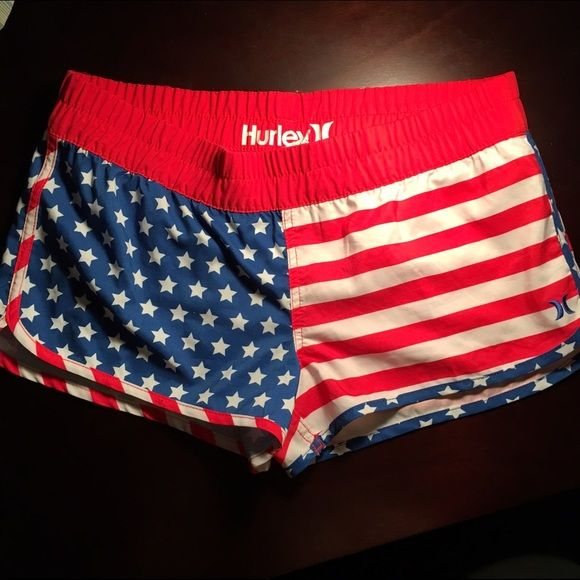 Hurley American flag board shorts I loved these shorts so much! but I only got to wear them a couple times until I grew out of them. I hope one of you will love them! they are perfect to wear to the beach over a bathing suit, but you can wear them just about anywhere. if you have any questions don't be afraid to ask! Hurley Shorts