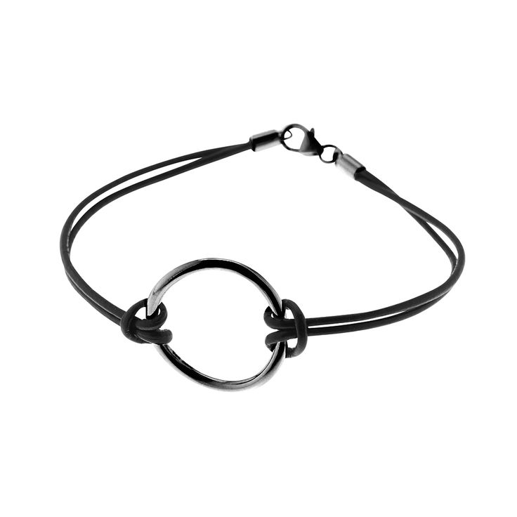 Oxidized sterling silver circle pendant for bracelet or necklace from By Malene Meden at Svane & Lührs - here with black leather straps. We tailor-make your length. Worldwide shipping € 5: www.svane-luhrs.com.