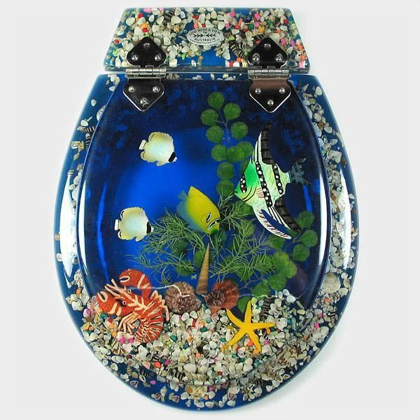 Tropical Fish Bluewash  3pce OUT OF STOCK  - All Seats  - Animals  - Marine  - Loo with a View Hand Made Poly Resin Toilet Seats & Accessories