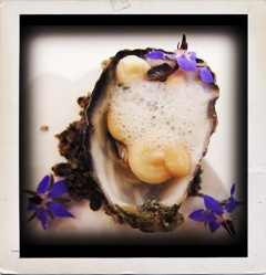 Oyster, white bean and borage for our amuse bouche.