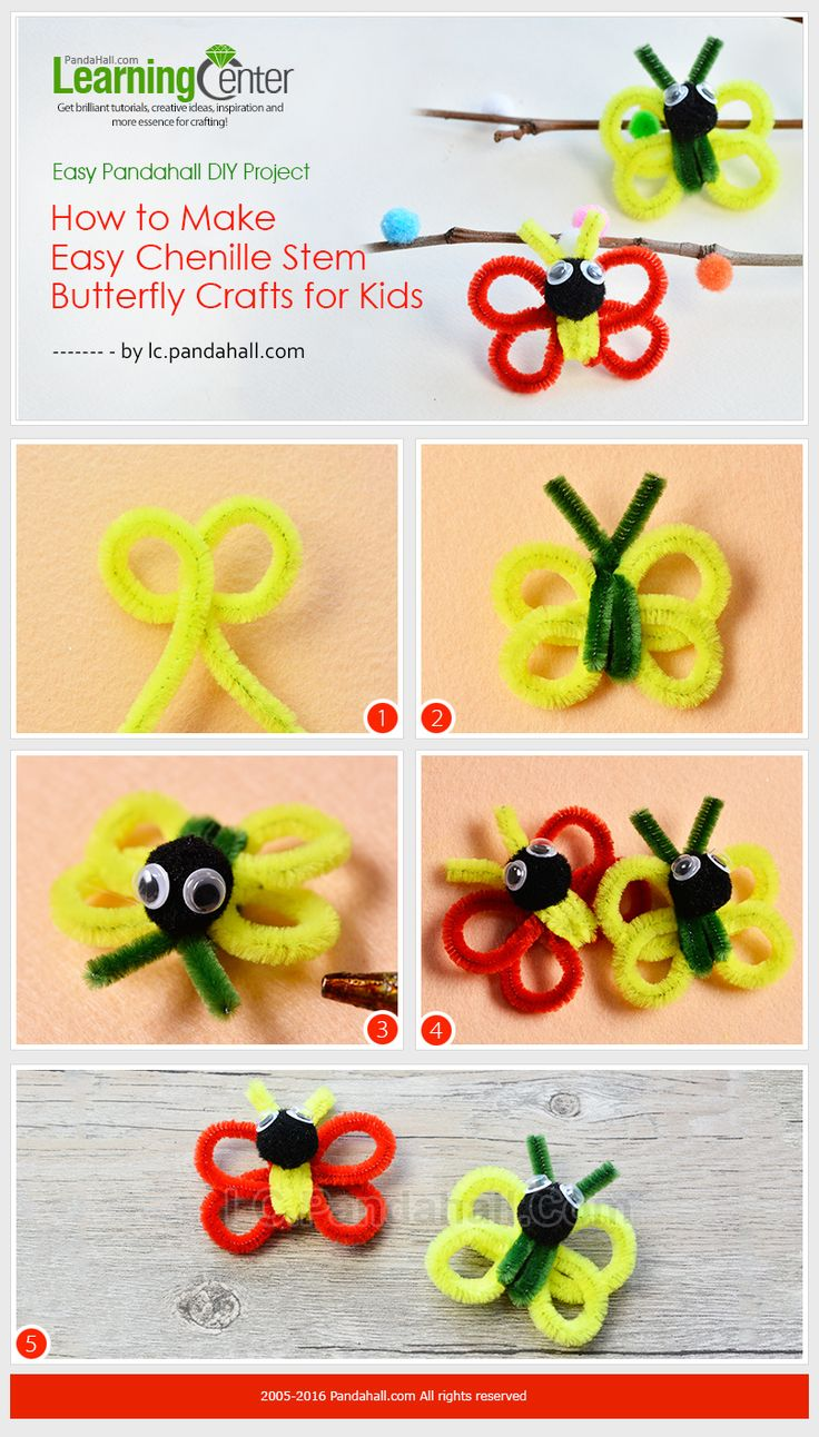 DIY Project - How to Make Easy Chenille Stem Butterfly Crafts for Kids from LC.Pandahall.com   #pandahall