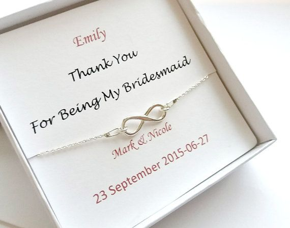 Personalised Bridesmaids Bracelet, Bridesmaids Gift, Wedding Jewellery, Infinity bridesmaids bracelet, Thank you for being my Bridesmaid