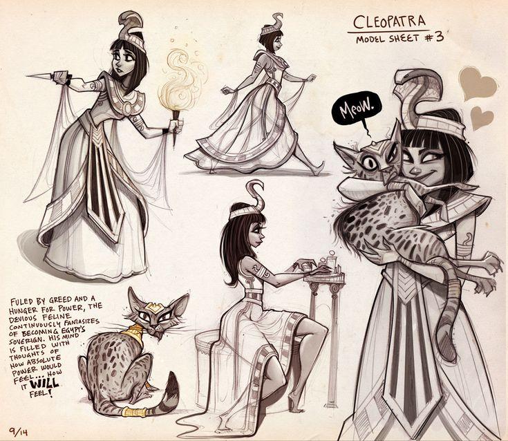 Cleopatra Model Sheet, Drew Hill on ArtStation at https://www.artstation.com/artwork/L2gmR