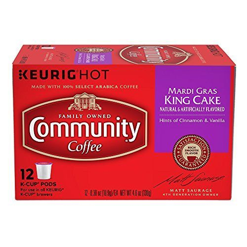 Community Coffee Mardi Gras King Cake Box of 12 K-cups Li