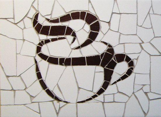 Coffee cup Unique handmade tiles mosaic 16 x 22 by MosaicsDesign, €35.00