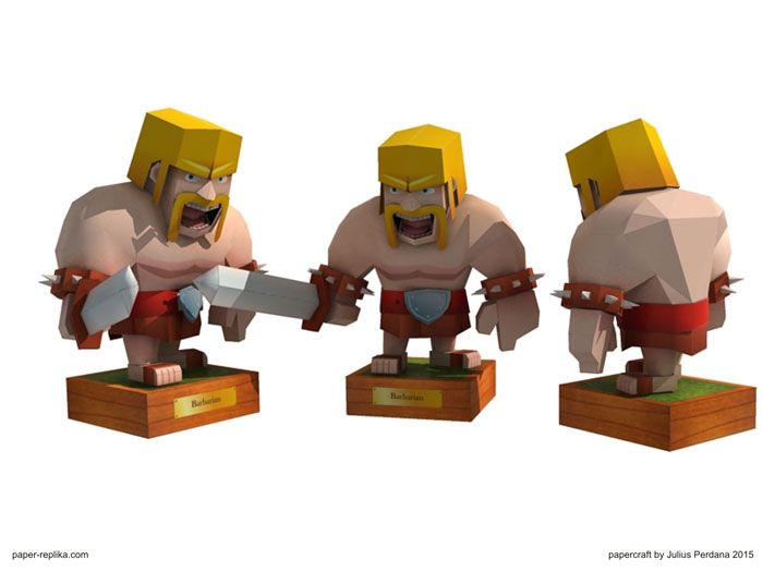 Clash Of Clans Barbarian Papercraft Characters