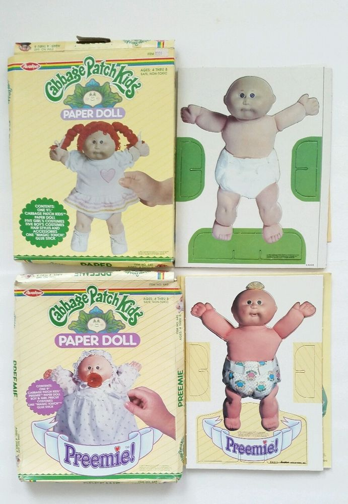 Vintage 1984 Cabbage Patch Kids & Preemie Paper Dolls with Clothes Boxes #Avalon #PaperDolls