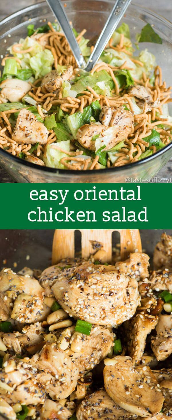 Toasted sesame seeds and almonds give this Oriental Chicken Salad a nutty crunch. An easy, light dinner salad that makes a complete meal! via @tastesoflizzyt