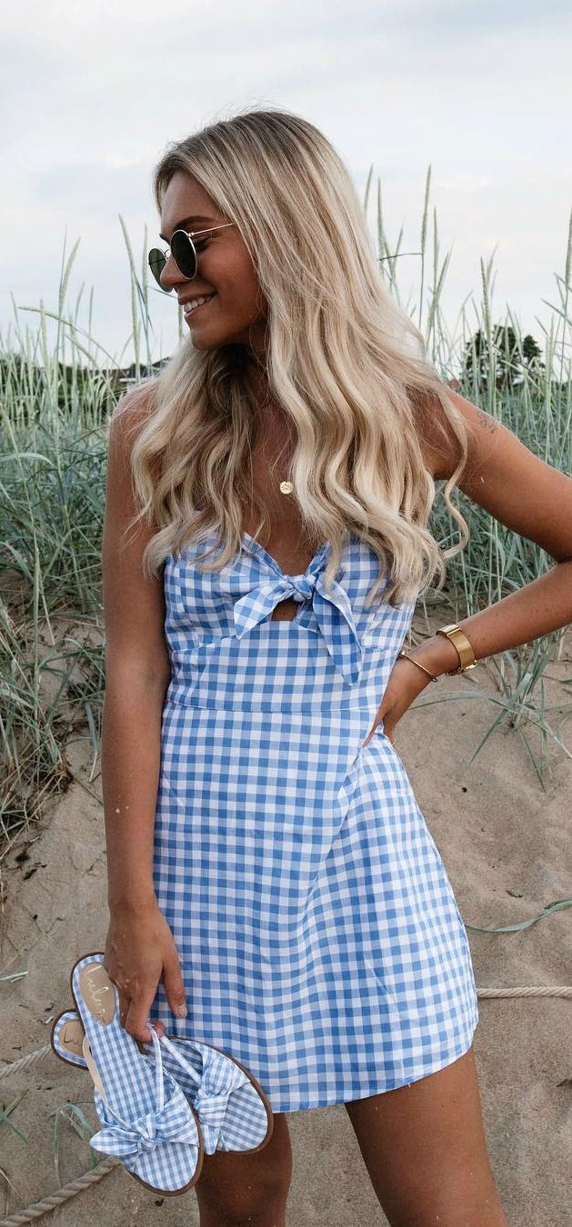 St. Helena Blue and White Gingham Tie-Front Dress 3