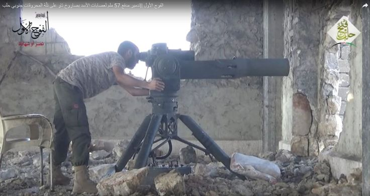 A Syrian rebel from the Jaish al-Fatah group aims a BGM-71 TOW anti-tank missile, Aleppo, August 2016 [1181 x 618]
