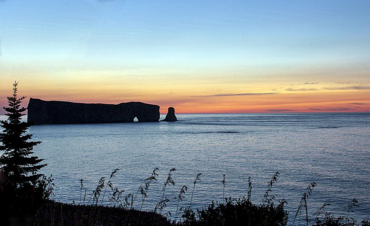 Rocher Percé on the atlantic Ocean before sunrise. This morning in Gaspésie, Québec.