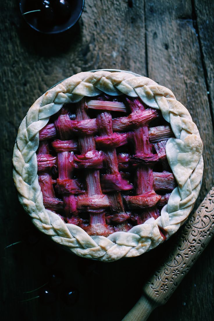 cherry berry basil rhubarb pie