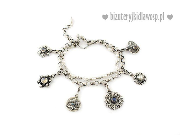 """Silver bracelet with little charms-snowflakes """"Królowa Śniegu"""" 2016 #BizuteryjkiDlaWOSP"""