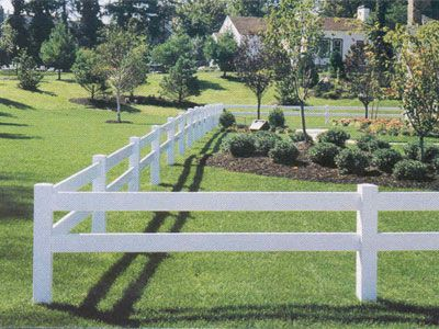 Very basic white post and rail fence