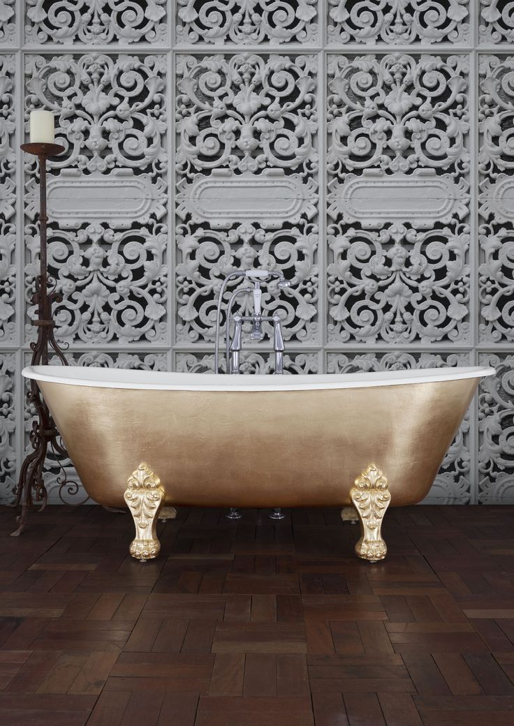 The Schooner in Faux Gold Leaf!  - From the Hurlingham's Gilded range: A collection of Baths Hand-Gilded in our Lincolnshire Workshop. Our Master Gilder can finish any bath with Real or Faux Gold, Silver, Bronze or Variegated Leaf. After gilding, the baths are protected with exterior quality laquer. #Gold #Bespoke #Luxury #Special #Gorgeous