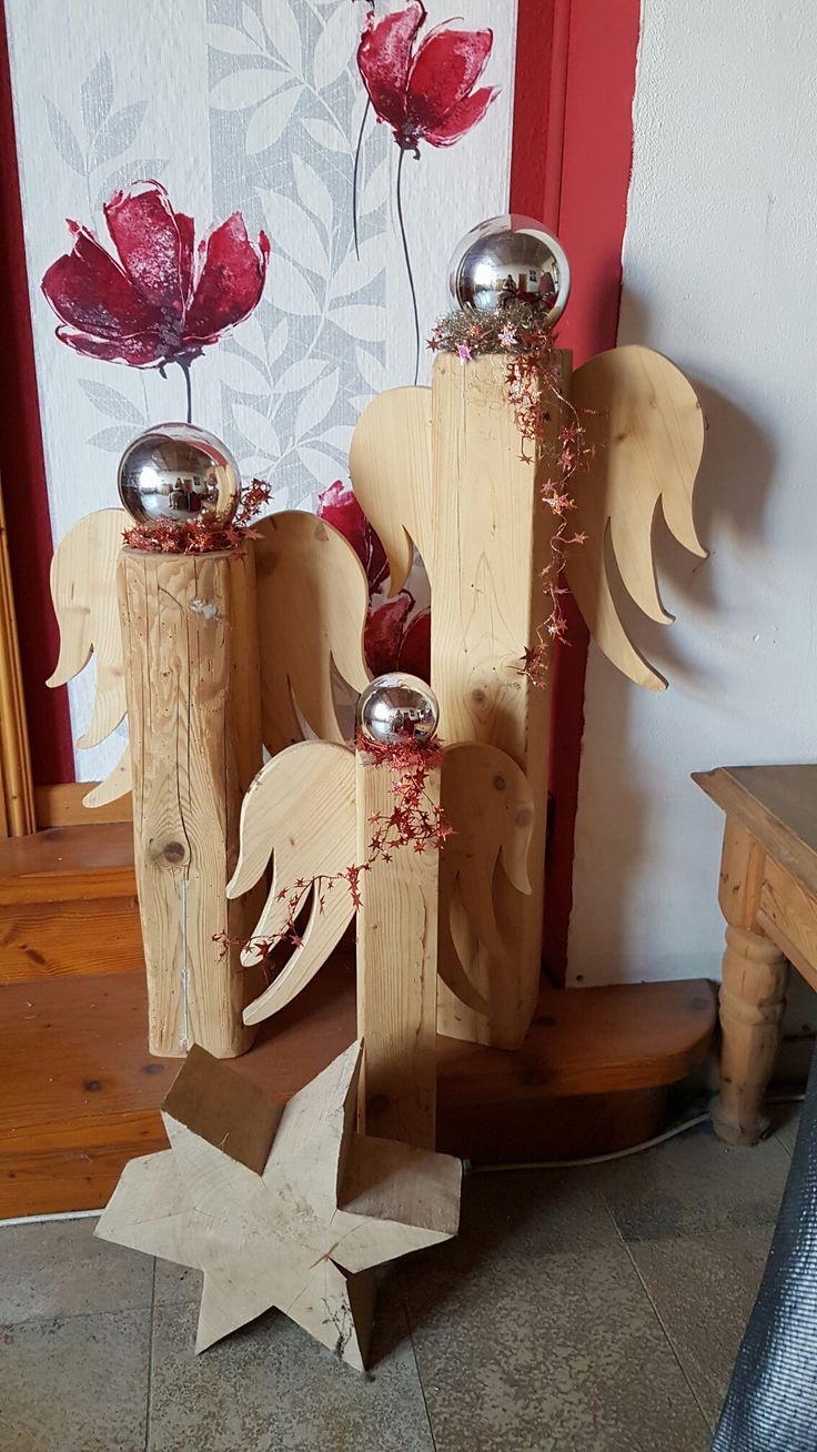 Christmas Angels #kunst #art #holz #hausdeko #deko #holzpfosten #decoration