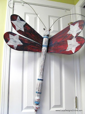 Old ceiling fan blades and spindle - love this idea for the back porch. Lots of other designs on the site -- Lucy Designs