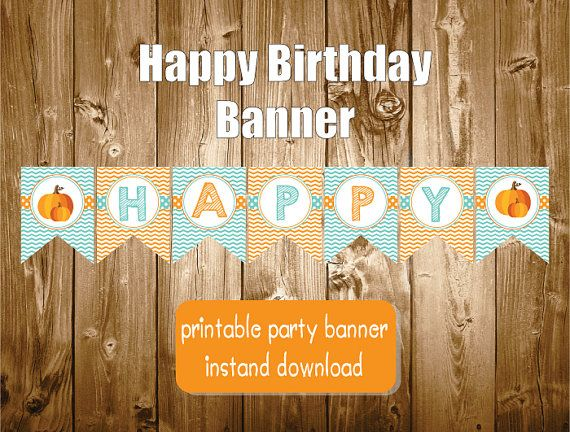 Happy Birthday Pumpkin Banner Printable Polkadots Orange
