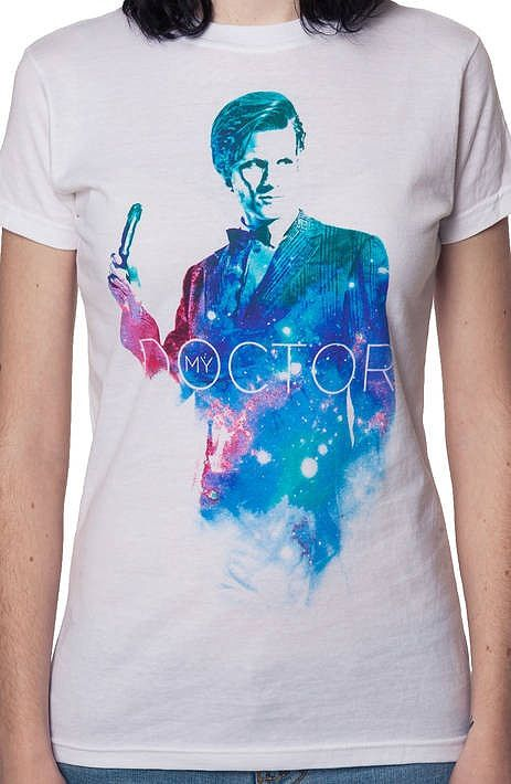 This ladies Doctor Who shirt features an image of Matt Smith as the 11th Doctor. Over the course of almost four years, this Doctor appeared in three series and seven specials. The Eleventh Doctor cons