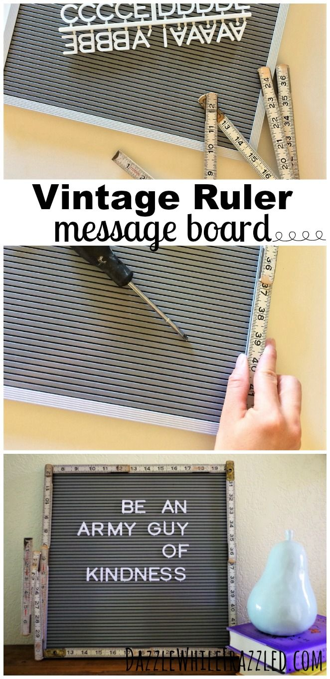 Re-purpose a vintage folding wooden yardstick into DIY ruler-framed photo or letter board message board. How to use vintage wooden rulers for DIY home decor. Use rulers in back-to-school crafts. via @https://www.pinterest.com/dazzlefrazzled/