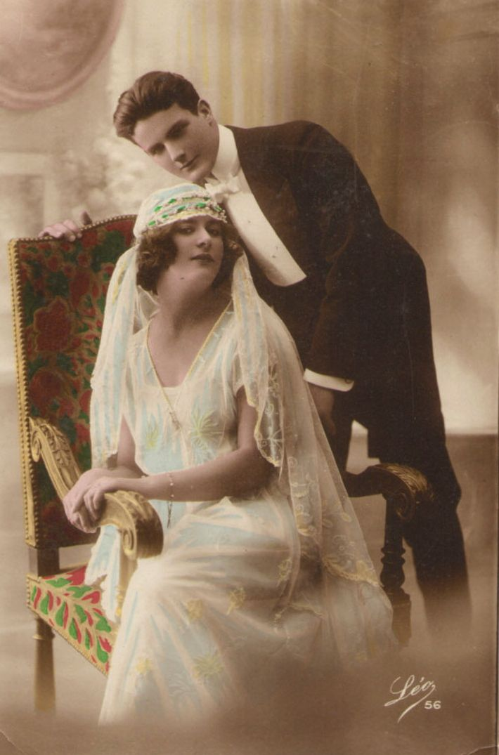 1920s Wedding Postcard