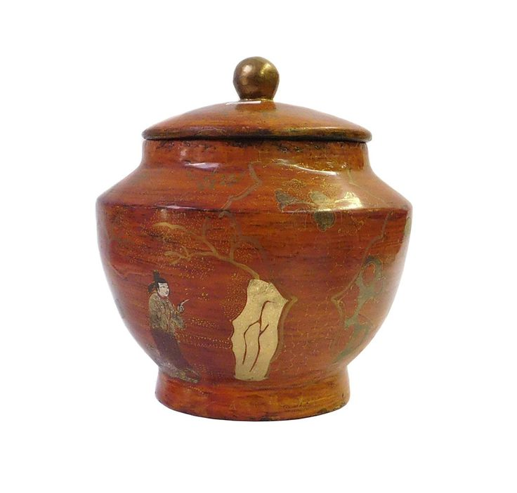 Chinese Brown Lacquer Scenery Painting Container Jar cs1647S