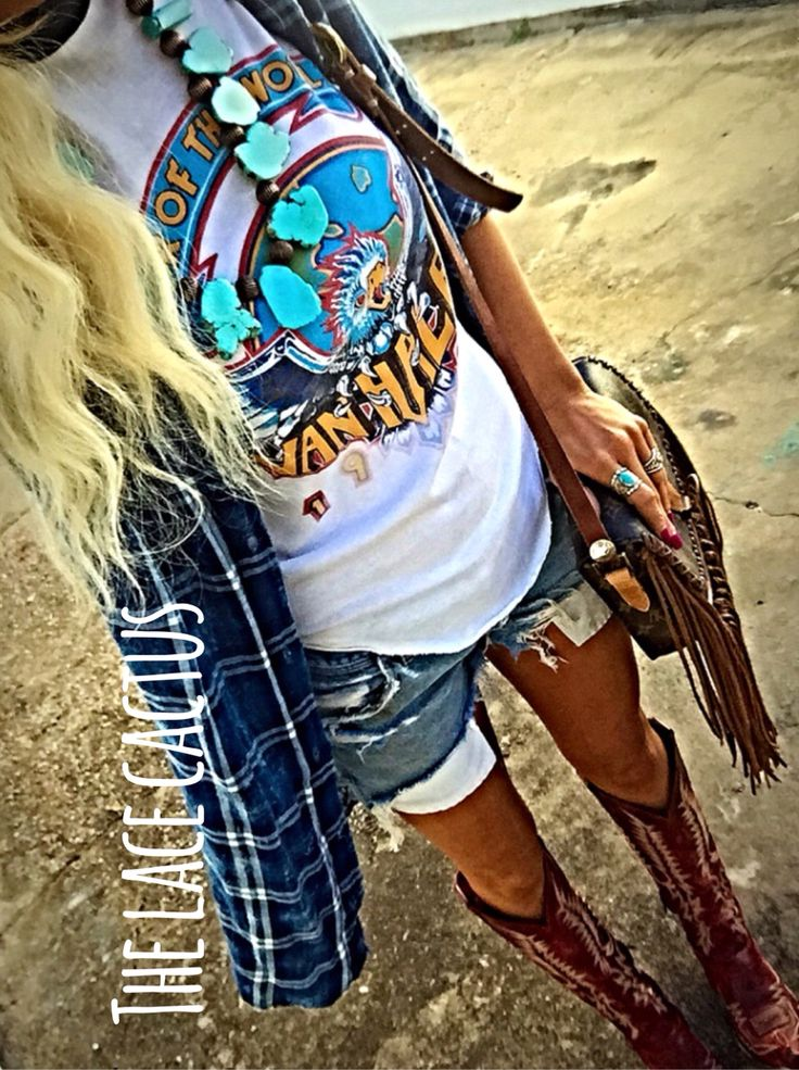 Vintage Van Halen tee, plaid, distressed vintage Wrangler shorts, Old Gringo boots, Leather & Vodka custom Louis Vuitton